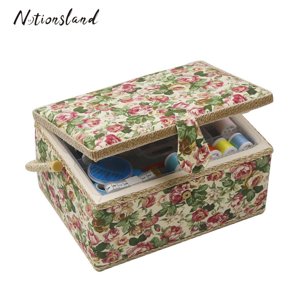 Buy One Get Free Sewing Tools Wood Fabric Covered Crafts Sewing Storage Box Multifunction Sewing Kit