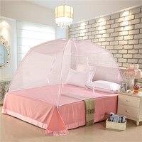 Novo Verão de despedida Bi-Folding Malha Inseto Cama Mongolian Yurt Mosquito Net cama King/queen Size Cama de Dossel Cortina Barraca Da abóbada
