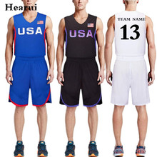 Men USA Basketball Jersey 2016 New Blue Custom Sets V-Neck Shirt+Shorts Breathable Youth Training Clothing Team Uniforms S-5XL