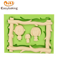 DIY Wood Frame Shape Family Modelling 3D Silicone Mold Fondant Cake Decoration Mould For Sugarpaste Fudge