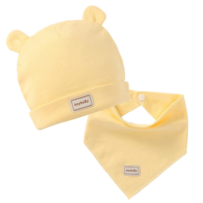 3 Color Eslatic Headscarf Double Layer Cotton Baby Caps&hats  Solid Color Baby Bibs Pink Yellow And Blue For Newborn Infant(China)