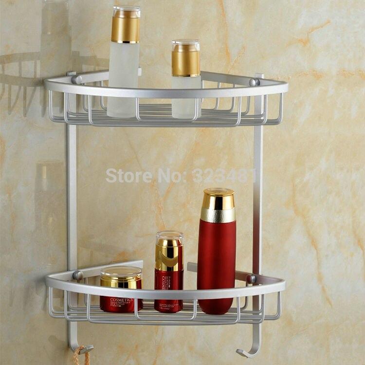 US $16.99  Alluminio Doppio Tier Bagno Cestino Mensola Angolare Rack Gancio  per Sapone Doccia Shampoo Storage Cucina Accessori organizador-in Mensole  ...