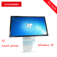 цена 55 inch Indoor Advertising All In One Lcd Table Infrared IR Touch Screen Windows I5 Kiosk Stand
