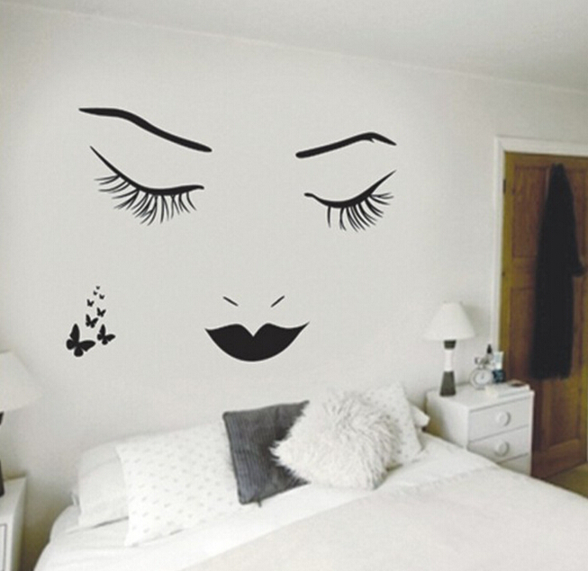 Home Decor Mural Art Wall Paper Stickers ~ Beauty women face wall stickers home garden decor