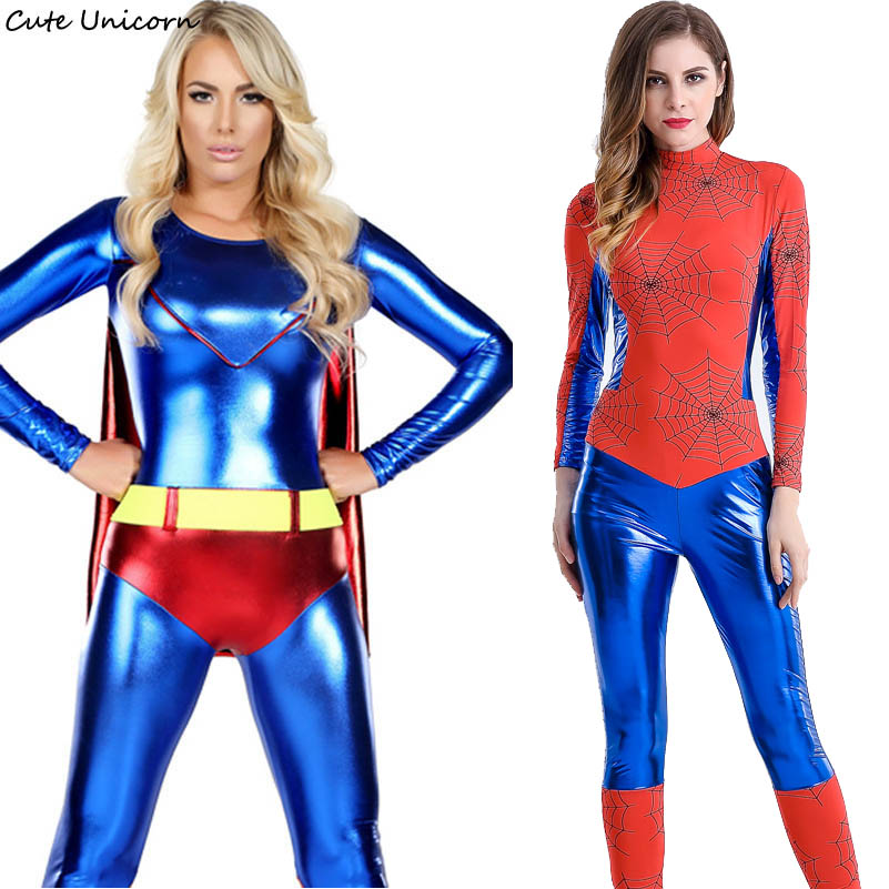 Cute Unicorn Superhero Spider Man Captain America Cosplay Costume Women Skinny Jumpsuit Role Play Movie Costumes sexy dress