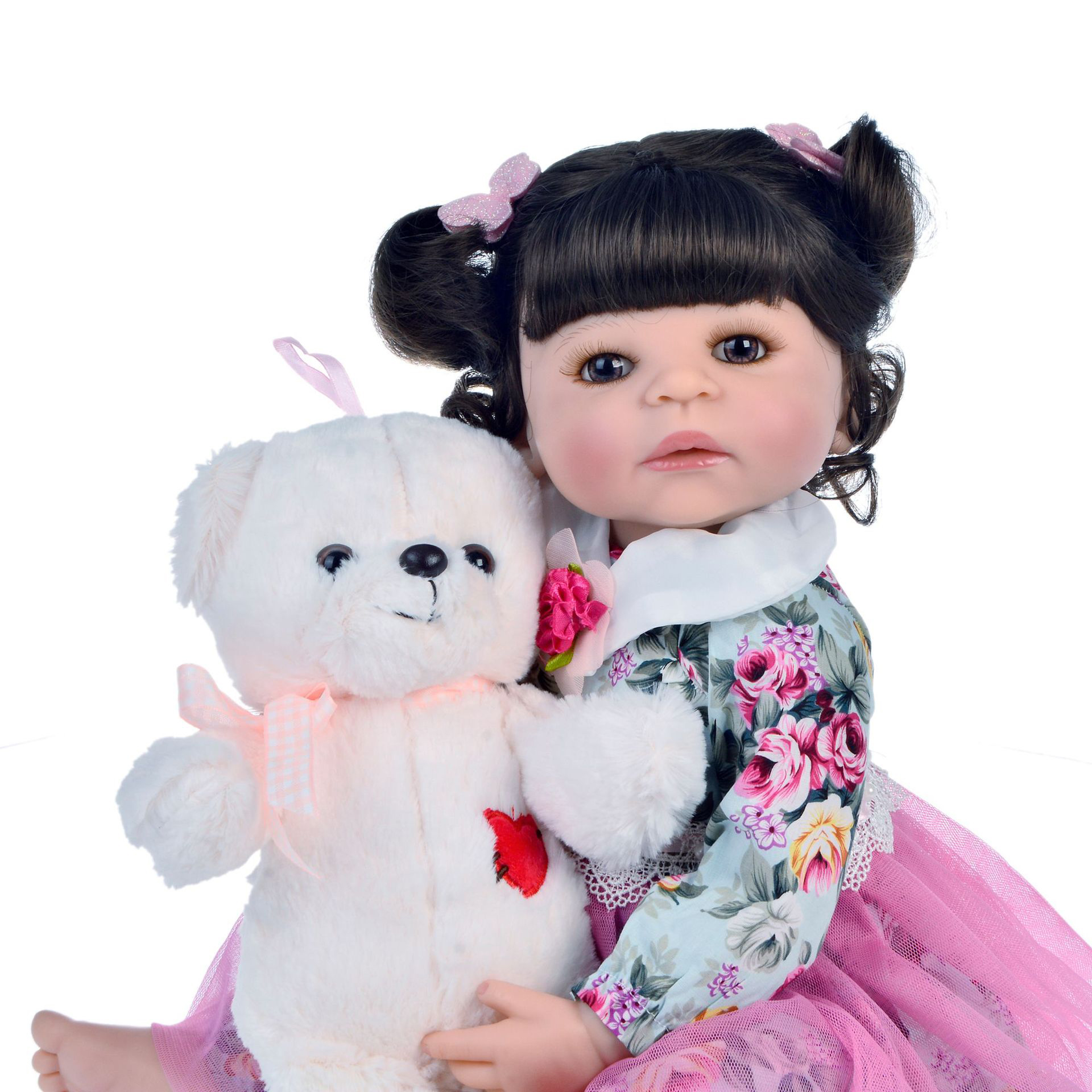 Curly hair 55cm bebe doll reborn toddler girl doll in Floral dress full body soft silicone realistic baby Bath toy waterproof