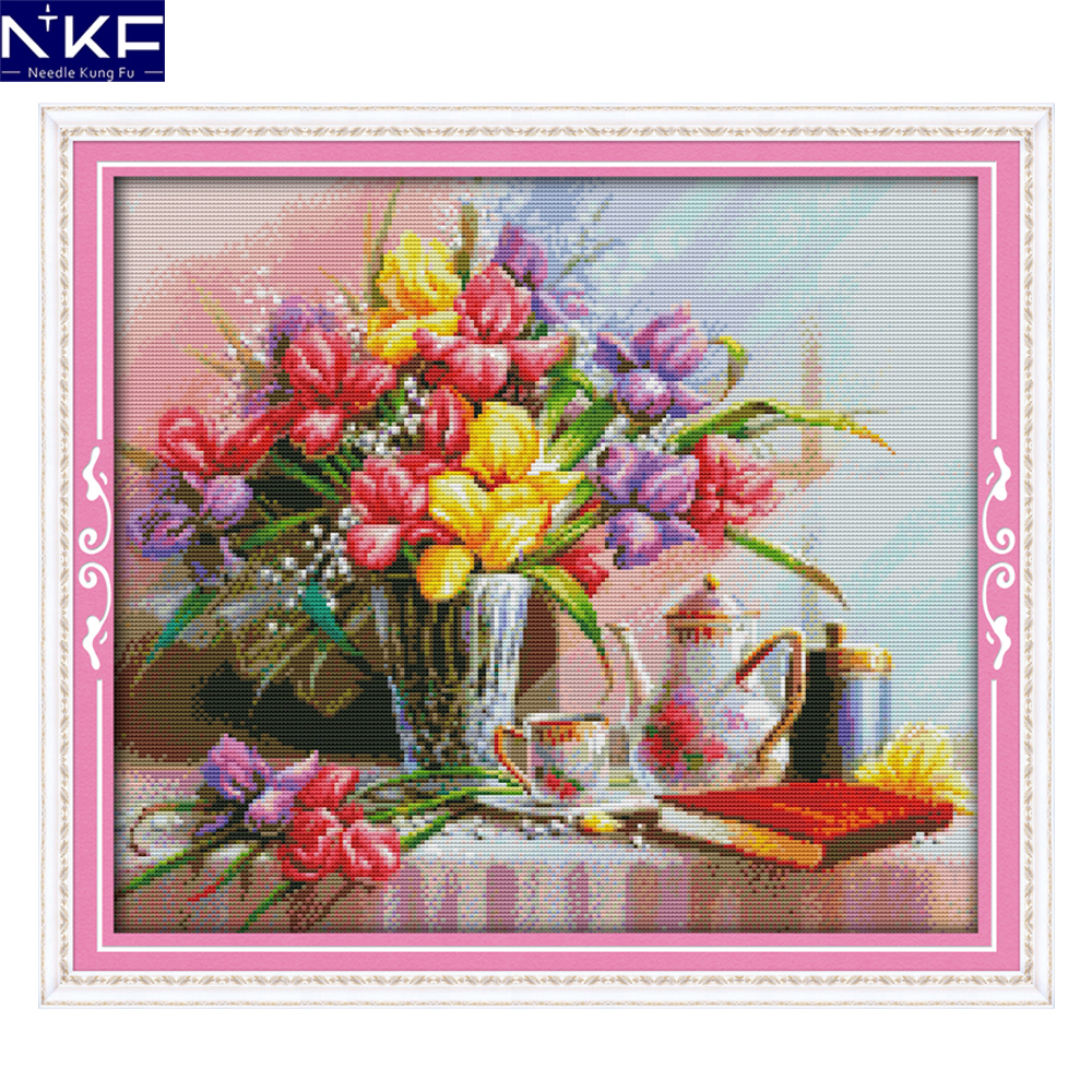 Nkf beautiful flowers painting pattern craft painting needlework nkf beautiful flowers painting pattern craft painting needlework cross stitch embroidery printed design stitching home decor in package from home garden izmirmasajfo