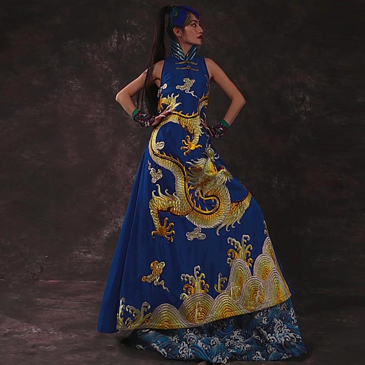 Высококачественное женское длинное платье с вышивкой дракона Национальный стиль винтаж вечернее платье без рукавов элегантные вечернее п