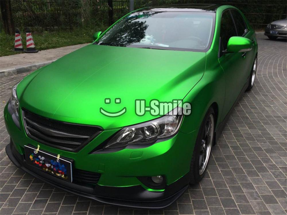 "48/"" x 60/"" Green Satin Matte Chrome Metallic Vinyl Film Wrap Sticker Air Free"