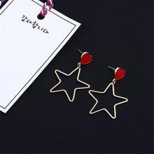 Lovely minimalist love Good girlfriends heart-shaped The stars star earrings Female stud earrings