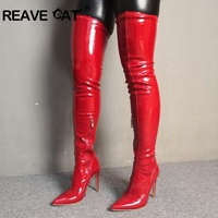 REAVE CAT New Women's Boots Over The Knee Boots Stretch patent leather lady Thigh High Boots Stiletto Heel red beige big size 46
