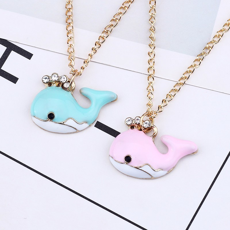 Creative DIY Dolphin Pendant Colorful Kawaii Girl Animal Necklace Pandants Cartoon Gold Chain Rhinestone Crystal Necklace Woman in Pendant Necklaces from Jewelry Accessories