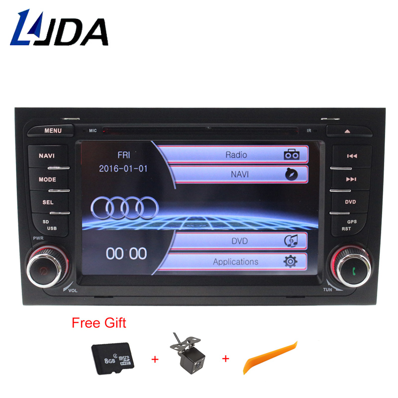 LJDA 2 din GPS Navigation For Audi A4 S4 RS4 2002 2003 2004 2005 2006 2007 2008 Car DVD Player Multimedia Bluetooth Auto Radio