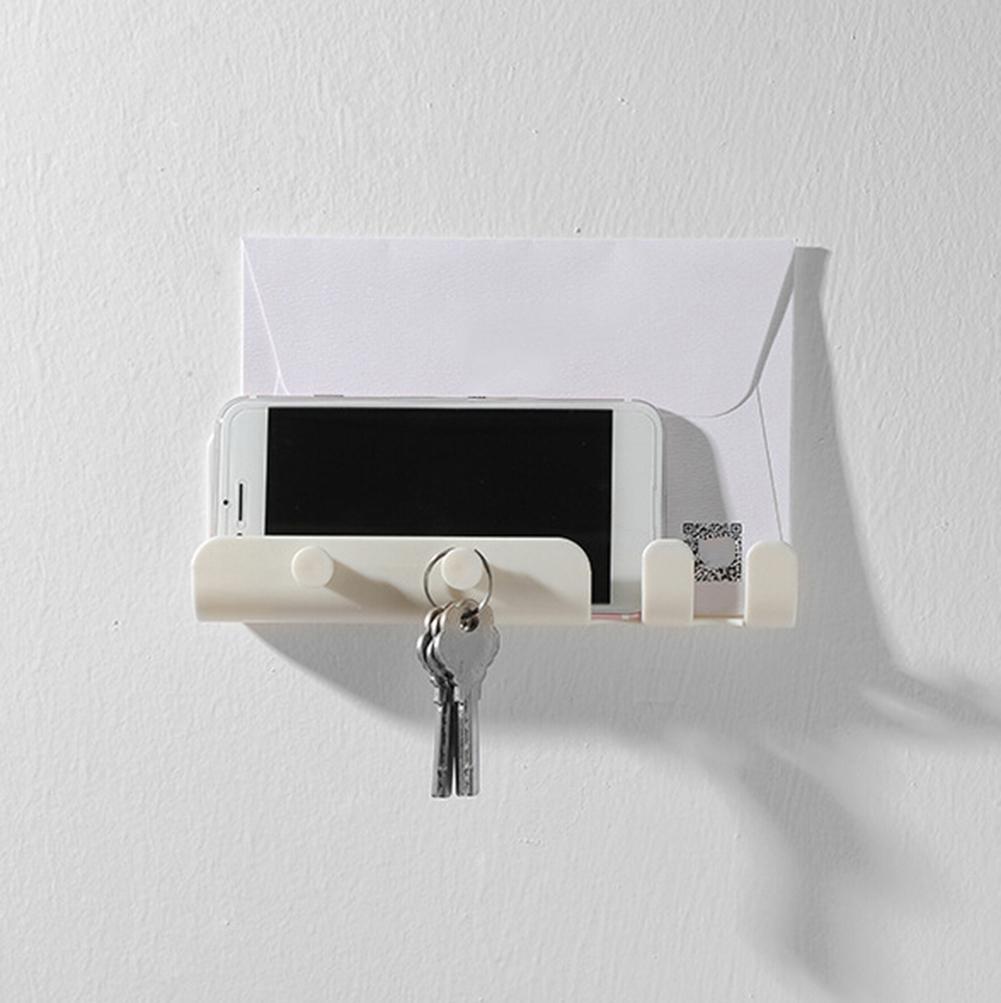 Adhesive Wall Phone Holder Wall Mounted Hook Hanger Storage Rack Holder Shelf For Mobile Phone And Keys