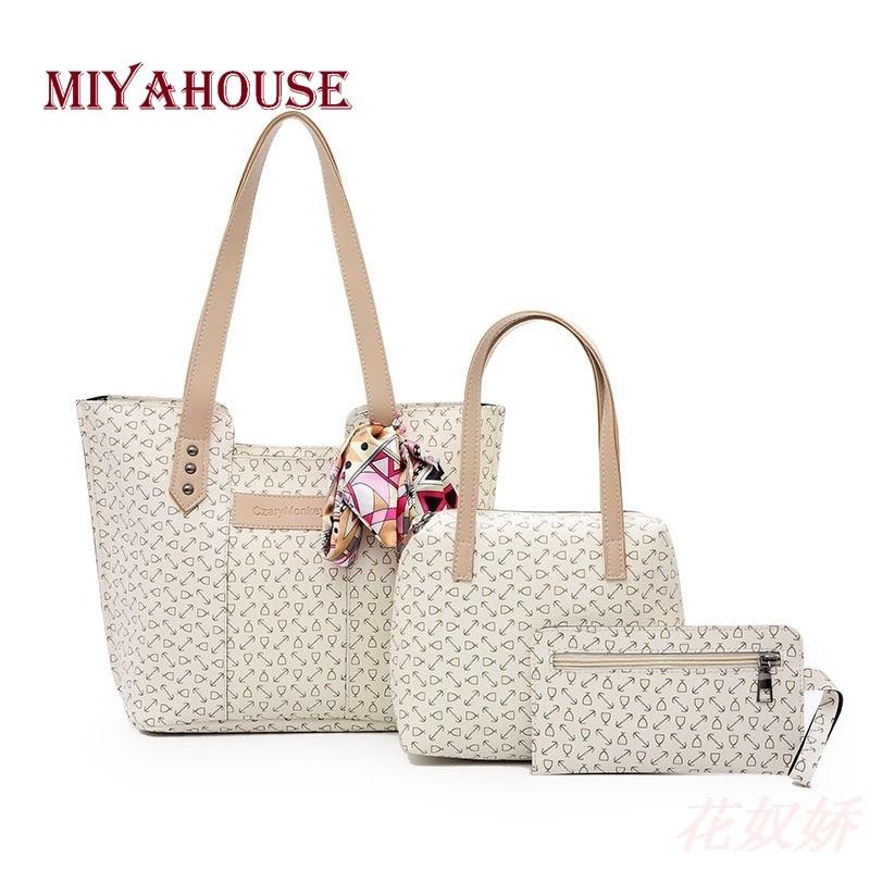 Miyahouse 3PCS/SET Korean Style Shoulder Bag For Women Print Design PU Leather Handbag Ribbons Solid Color Shoulder Bag Lady pink solid color off shoulder crop bodycon sweaters vests