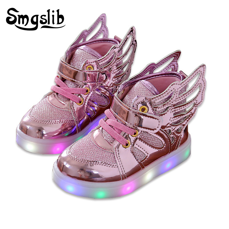 Smgslib Led shoes kids New kids shoes Fashion sneakers wings LED Luminous Shoes Baby girls & toddler boys Casual Sports Sneakers