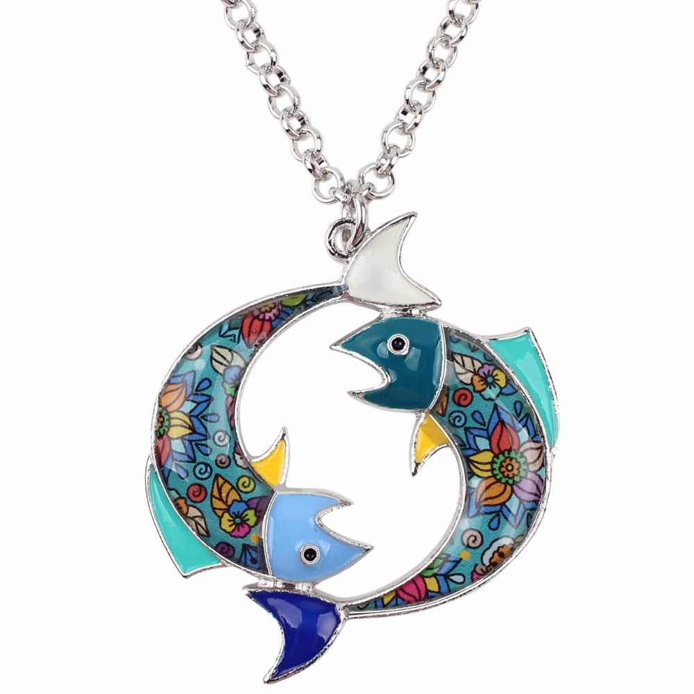 Bonsny Statement Maxi โลหะ Lucky Zodiac Pisces สร้อยคอ Choker จี้ Novelty The ปลาเคลือบเครื่องประดับสำหรับผู้หญิง