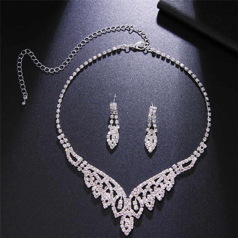 Новые свадебные комплекты ювелирных изделий серебряного цвета в форме капли ожерелье-чокер со стразами ожерелье серьги наборы для женщин Свадебные аксессуары