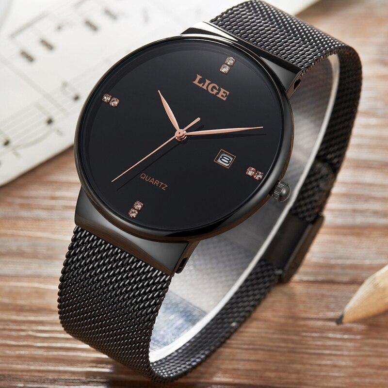 LIGE Luxury Brand Fashion Casual Watches Men Stainless steel Quartz Watch Man Date Waterproof Gold Black Clock relogio masculino