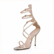 New Ankle Buckle Strap Crystal Lady Female High Heels Sandalias Mujer Wedding Shoes Prom Party Dress Sexy Sandals Pumps цена в Москве и Питере