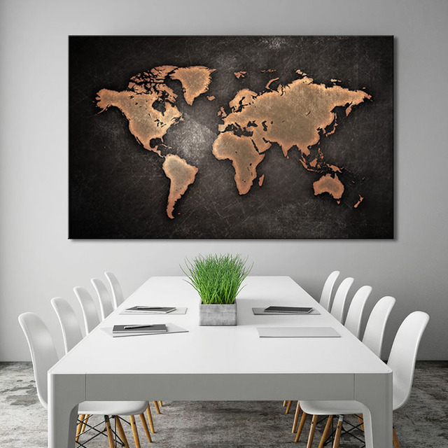 Framed Large Abstract Black World Map Painting Print On Canvas Retro - Black and gold world map