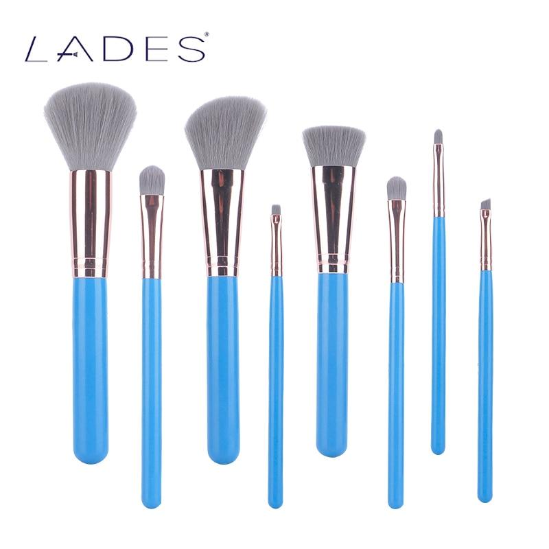 LADES New 8pcs Makeup Brushes Set Powder Foundation Eyeshadow Lip Cosmetic Brushes Set Travel Make Up Brush Tool Maquiagem Blue