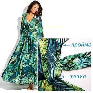 Image 4 - Vintacy ארוך שרוול שמלת ירוק טרופי חוף בציר מקסי שמלות Boho מקרית V צוואר חגורת תחרה עד טוניקה עטוף בתוספת גודל שמלה
