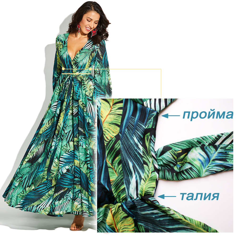 Image 4 - Vintacy Long Sleeve Dress Green Tropical Beach Vintage Maxi Dresses Boho Casual V Neck Belt Lace Up Tunic Draped Plus Size Dress-in Dresses from Women's Clothing