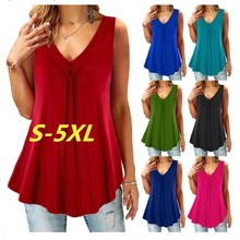 Plus Size S-5XL 2019 New Summer T Shirts Women Sexy Sleeveless V-Neck Casual Tank T shirt Tops Large Size Loose Tops Tees Female
