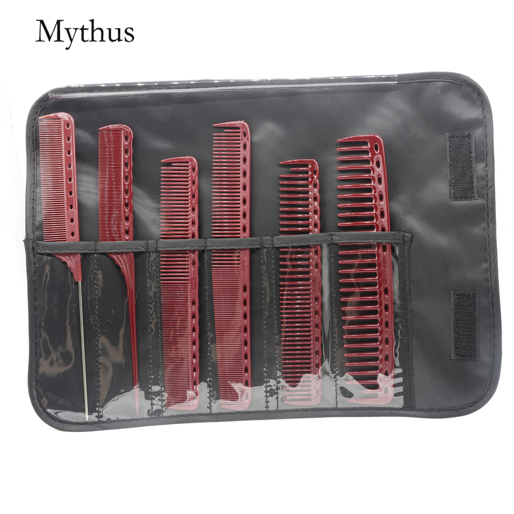 6 Designs Hairdressing Comb Set With Gift Bag Janpan Resin Anstatic Durable Hairdresser Comb Ideal For Salon Haircut Tail Comb