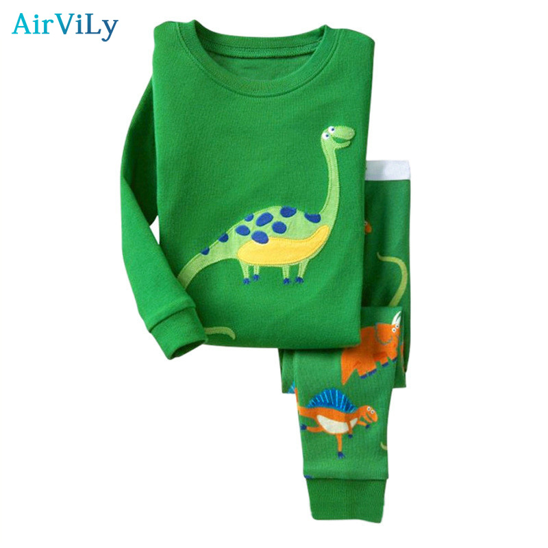 2018 Sale Kids Baby Girls Boys Pajama Sets Dinosaur Sleepwear Pajamas Suit Children Pyjama T shirt Pants Animal Clothing Set 2018 spring kids girls sleepwear cotton cartoon print infant pajamas for girls home clothes t shirt pants suit kids clothing set