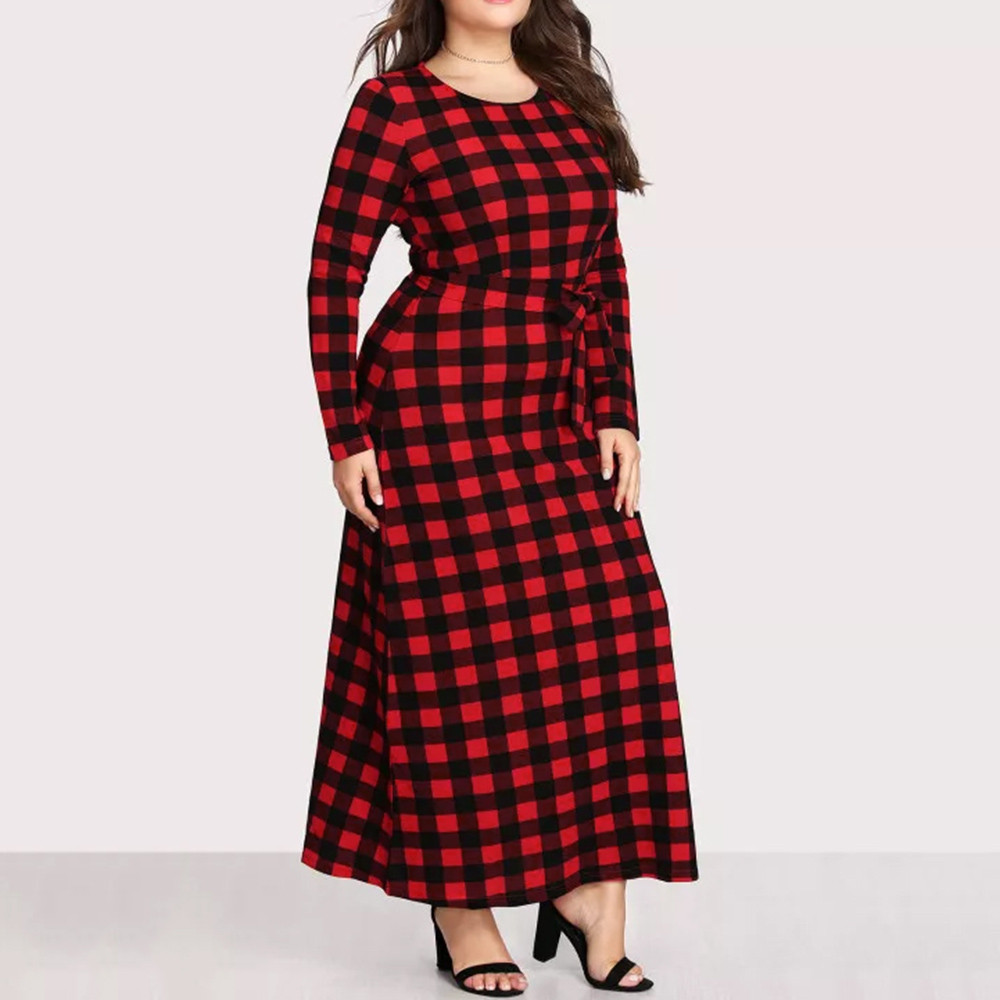 6XL women plaid autumn long Pocket dress  long sleeves Casual loose dress Ladies Crew Neck  women clothes plus size dress