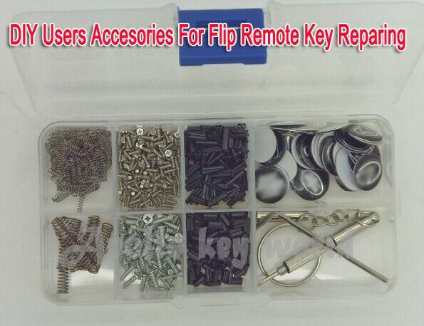 DIY Accessories For Folding Flip Remote Key Repairing Screws +Pins + Springs+Logos +Pin Remover