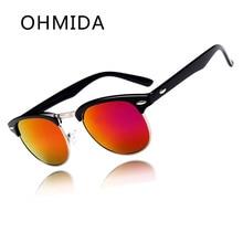 OHMIDA Mujeres Coloridas Gafas de gafas de Sol en Forma de Arroz de Uñas Medio Marco de Metal Elegante Verano UV400 Gafas Gafas de Sol Gafas