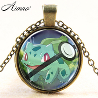 Fashion Pokemon Pet Elf Necklace Glass Pendant Bulbas Necklaces Women Pocket Pattern Necklace Silver Plated Chain Jewelry B746
