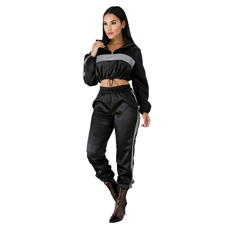 Womens 2 Pieces Outfits Long Sleeve Zipper Jacket and Loose Long Pants Set Tracksuits