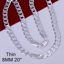 N034 Hot wholesale Silver 8mm 20 Flat Chain Necklace Mens Necklace. jewelry anime brincos