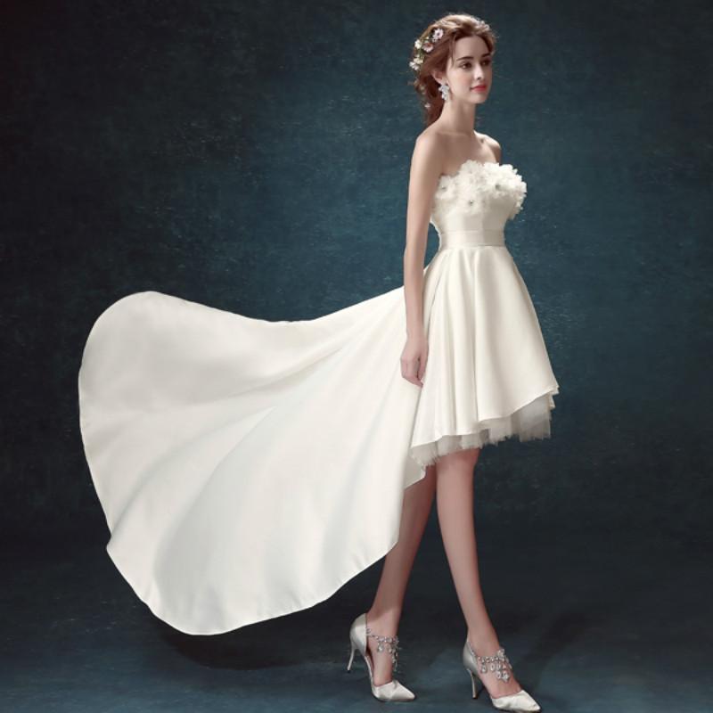 Axjfu Strapless Korean Short Long Before After Princess White Turkey Bride Evening Dress Tail Flower 1847 In Dresses From Weddings