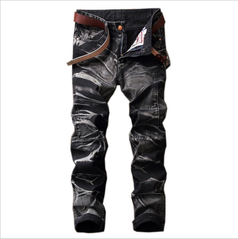 New Autumn Men Straight Denim Jeans Moto Biker Style Patchwork Jean Pants Large Size Men Cotton Denim Jeans Size 4XL No Belt