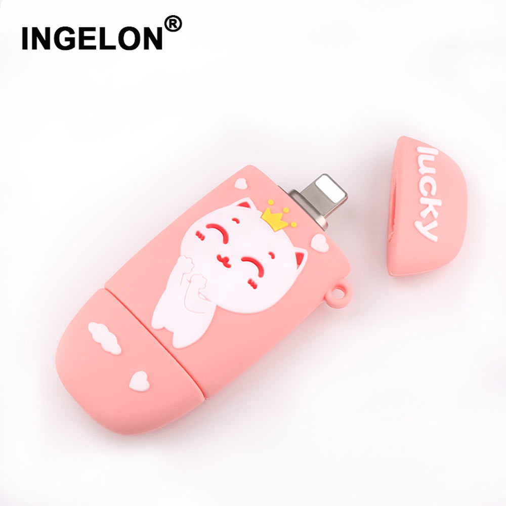 Ingelon 3in1 Usb Flash 32gb Disk on Key 64gb Clef Memoria USB Flash Drive 128gb 3.0 for lovely girl cartoon Pendrive for iphone