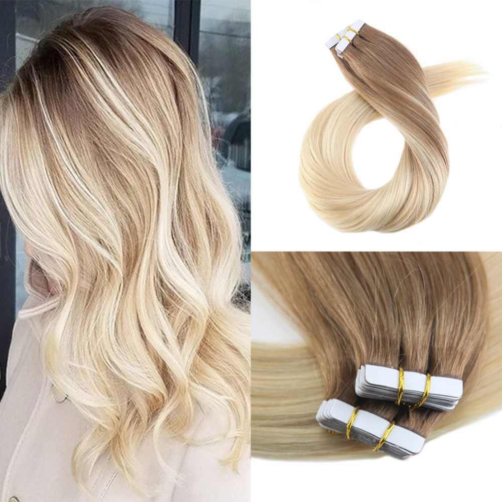 Moresoo лента для наращивания волос Balayage Омбре цвет коричневый #6 смешанный с блондином #613 настоящие Remy человеческие волосы для наращивания 50 г/50 упаковок