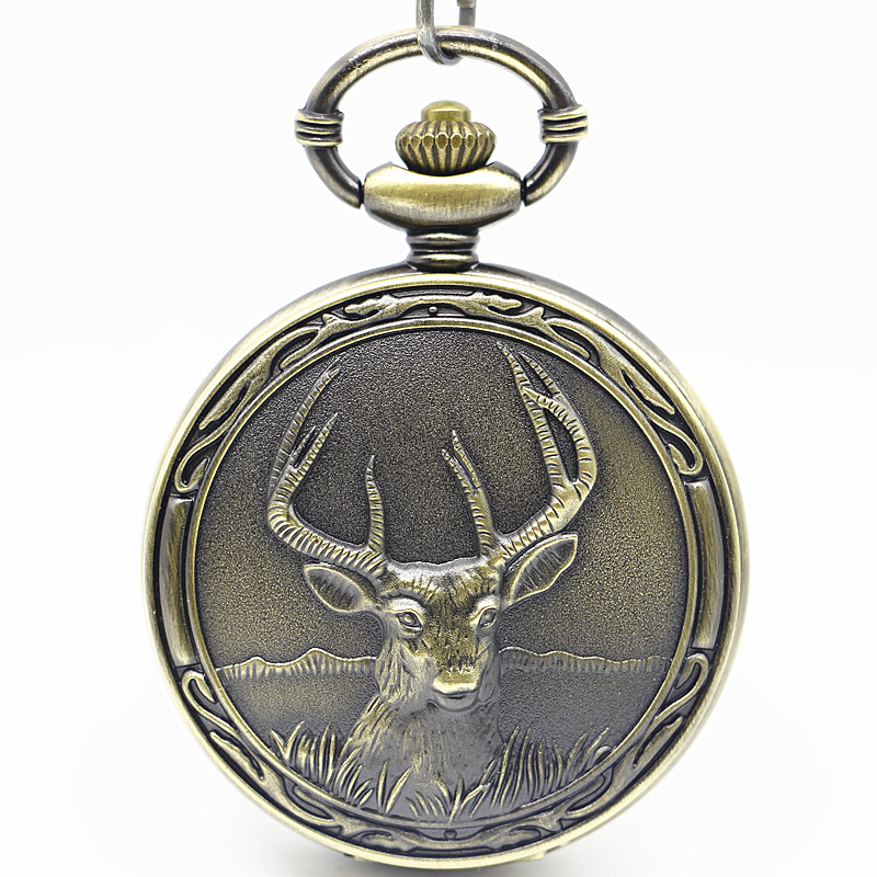 PB168 New Deer Pattern Antique pocket watch Necklace Pendant Reindeer retro quartz women steampunk relogio de bolso reloj mujer lancardo fashion brown unisex vintage football pendant antique necklace pocket watch gift high quality relogio de bolso