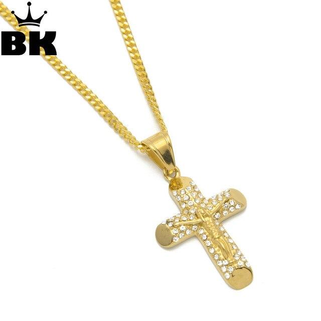 426f7cffc702 2018 nuevo estilo cristiana crucifijo Jesús pieza COLLAR COLGANTE de acero  inoxidable oro Color religioso Cruz