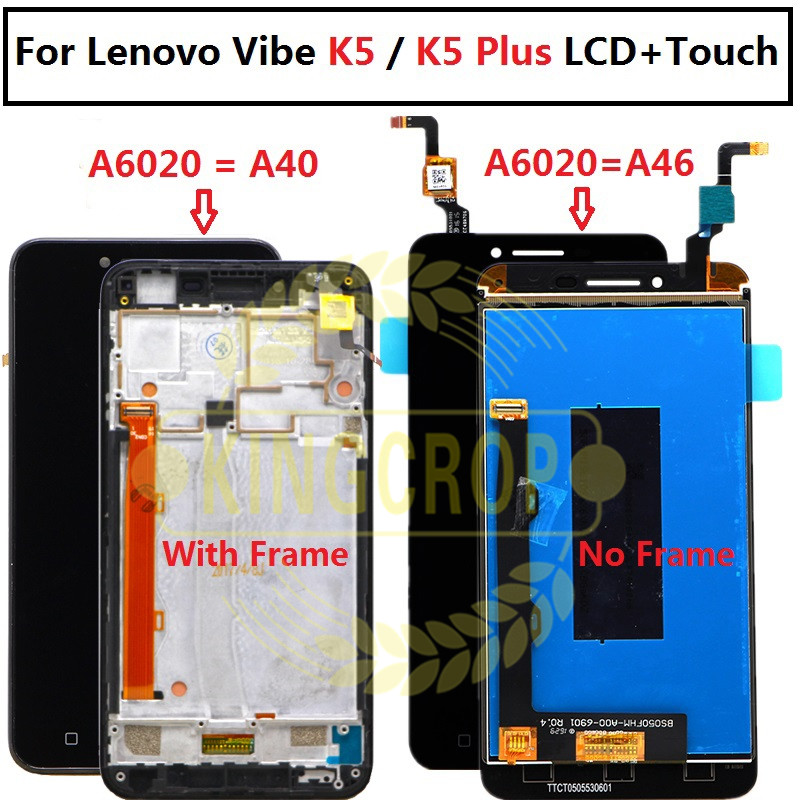 1920*1080 A6020 a40 LCD For Lenovo K5 Plus A6020 A46 LCD with frame Display  and Touch Screen Digitizer 5 0 inch Glass Panel Len