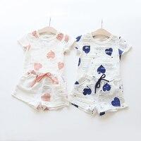 2Pcs Lot Infant Baby Girls Clothing Sets Cotton Flower Print Love Pattern Summer Romper Shorts Baby