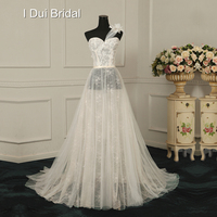 A Line One Shoulder Illusion Lace Wedding Dresses Unique Design Factory Real Photo Handmade Flower Beaded