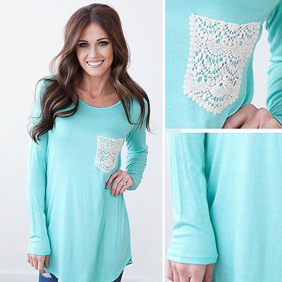 Sexy Women Casual Long Sleeve Shirt Tops Blouse Tee Shirt Lace Pocket Blouse