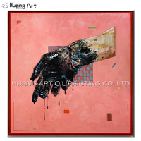 New Design Picture Art Hand Painted Abstract 3D Man Hand Oil Painting on Canvas for Home or Hotel Decoration Pink Paintings