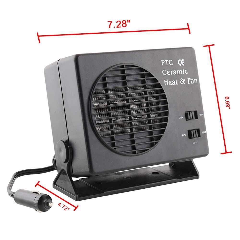 12V 2 in 1 Auto Mini Klimaanlage 300W Einstellbare Elektrische Fan Heizung Keramik Heizung Defroster Demister Zigarette leichter