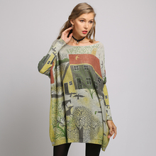XIKOI Sweater dress Woman  Pastoral cartoon Print O-Neck Knitted Oversize Long Batwing Sleeve Fashion Casual Clothes